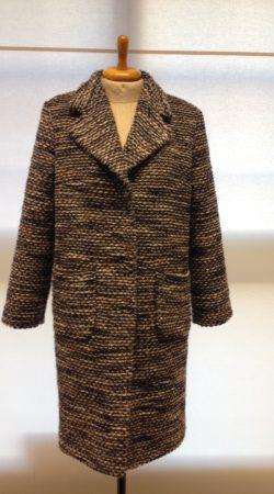 wollen mantel in grove tricot gemeleerd