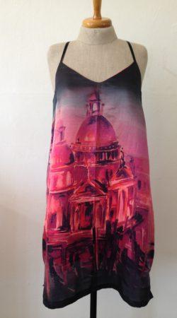 zomer jurk spagettibandjes Italiaaanse zijde digitale print
