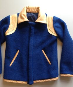 Bomberjack in blauwe wol met lederen details