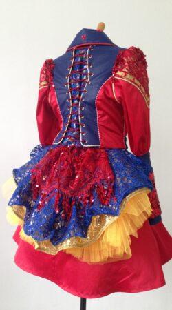 prinses Carnaval jas niet jurk in rood-blauw