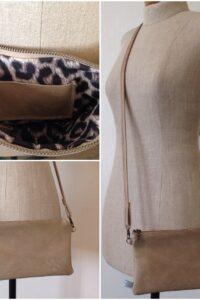 nubuck leder schoudertasje met panterprint voering en binnenvakje