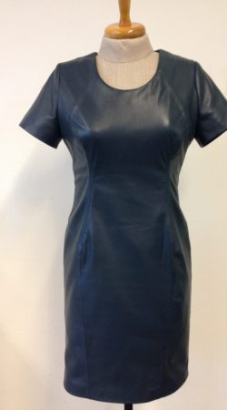 lederen maatkleding jurk in blauw petrol zacht lamsleer