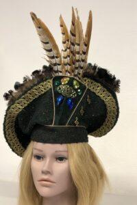 groene velvet hoed koningsfazantveren Carnavals adjudant