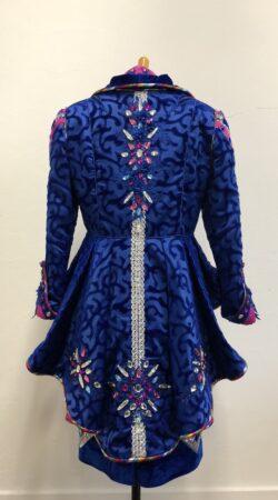 prinses Carnaval kostuum getailleerde jas met peplum in cobalt blauw pink zilver
